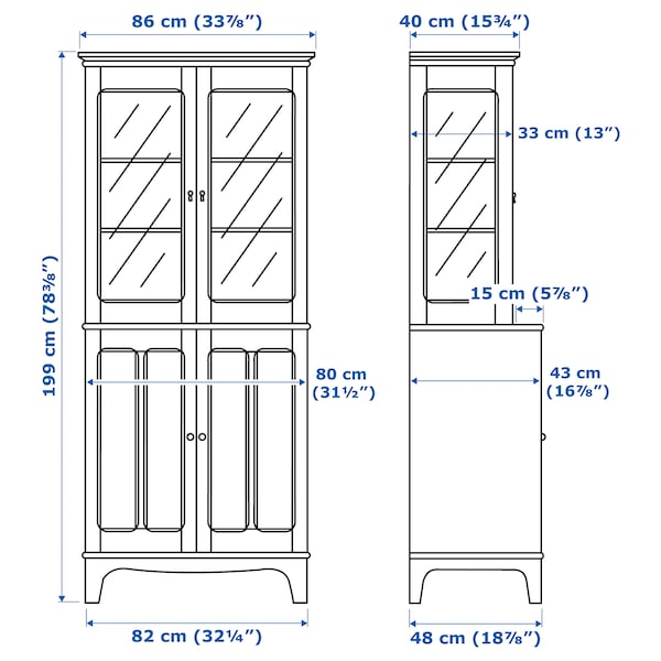 LOMMARP خزانة مع أبواب زجاجية, أزرق-أخضر غامق, 86x199 سم