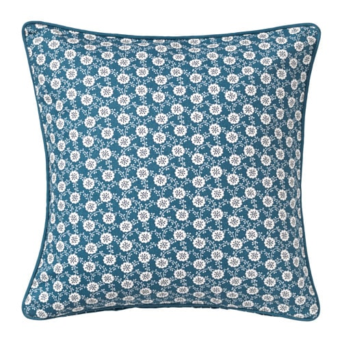 LÖVKOJA Cushion cover, blue, white