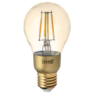 LUNNOM LED bulb E27 400 lumen, dimmable/globe brown clear glass, 60 mm