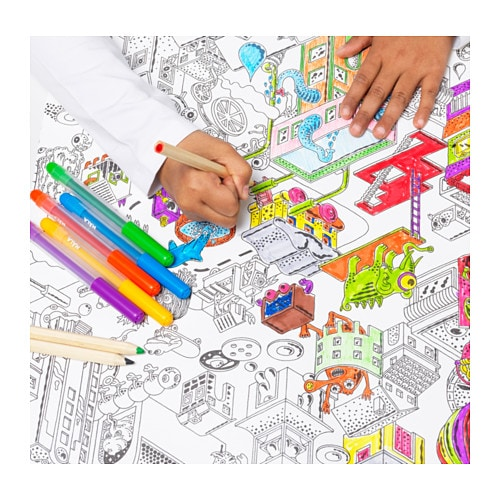 "LUSTIGT Colouring paper roll IKEA A dream for the young artist ‒ 10 metres of a ""colouring book"" filled with details and imaginative figures."