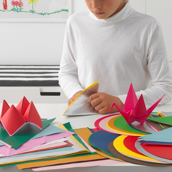 LUSTIGT Origami paper, mixed colours/mixed shapes