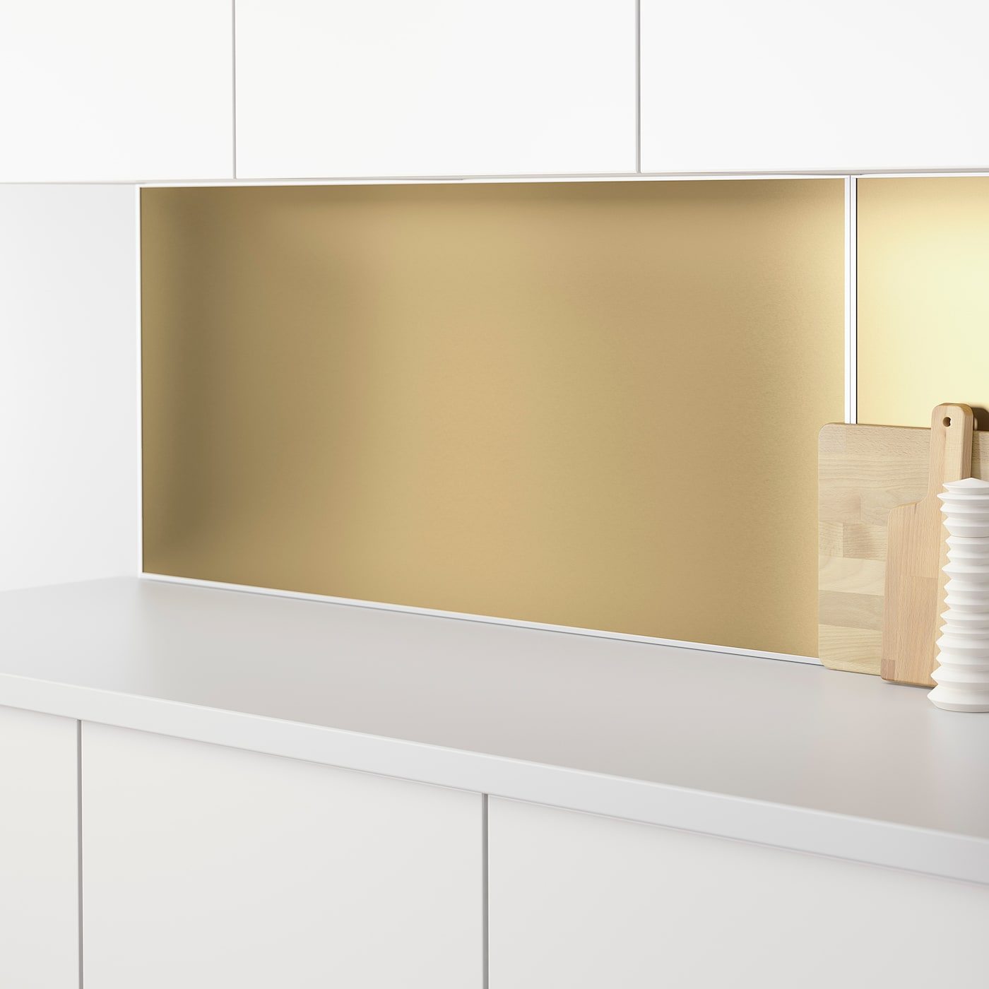 LYSEKIL Wall panel - double sided brass-colour/stainless steel colour  9.9x9 cm