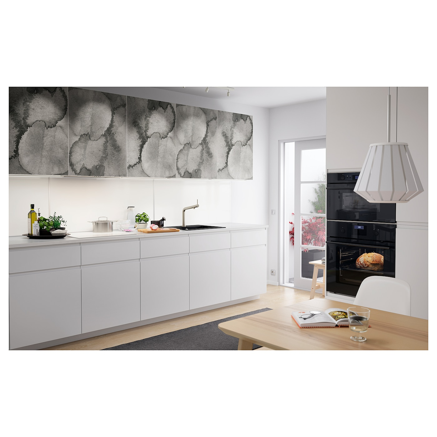 LYSEKIL Wall panel - double sided white/light grey concrete effect 9.9x9  cm
