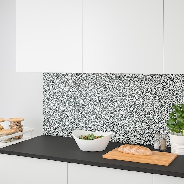 LYSEKIL Wall panel, double sided white marble effect/black/white mosaic patterned, 119.6x55 cm