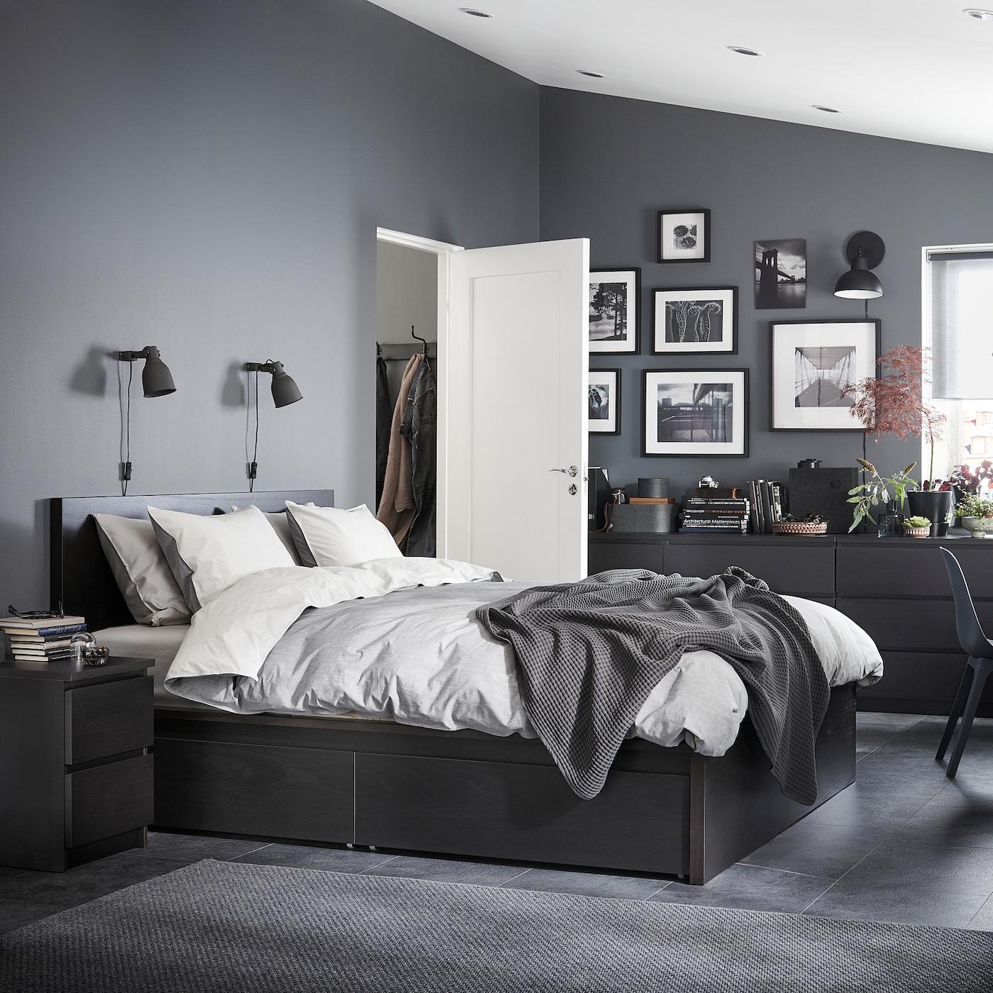 MALM Bed frame, high, w 8 storage boxes - black-brown 8x800 cm