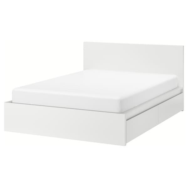 MALM Bed frame, high, w 2 storage boxes, white/Lönset, 140x200 cm