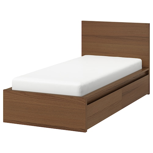 MALM bed frame, high, w 2 storage boxes brown stained ash veneer 15 cm 209 cm 105 cm 97 cm 59 cm 38 cm 100 cm 200 cm 90 cm 100 cm