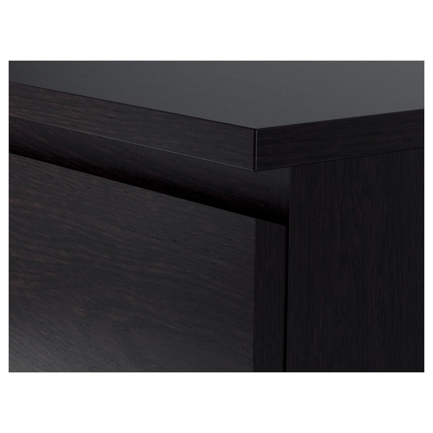 MALM خزانة بـ 3 أدراج, أسود-بني, 80x78 سم