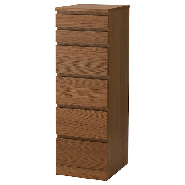 MALM خزانة بـ 6 أدراج, صباغ بني قشرة خشب الدردار/زجاج مرايا, 40x123 سم