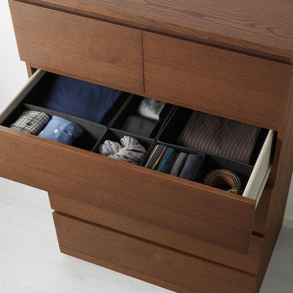 MALM خزانة بـ 6 أدراج, صباغ بني قشرة خشب الدردار, 80x123 سم