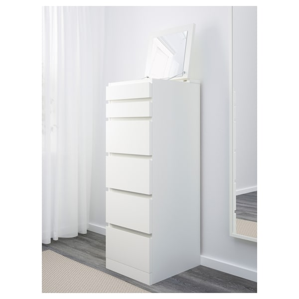 MALM خزانة بـ 6 أدراج, أبيض/زجاج مرايا, 40x123 سم