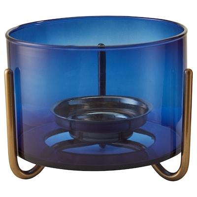 MASKERING Tealight stand, blue glass, 9 cm