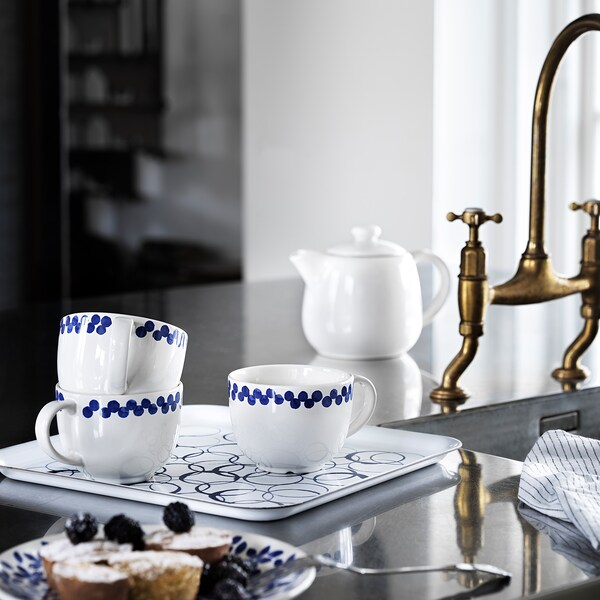 MEDLEM Tray, white/blue, 33x33 cm
