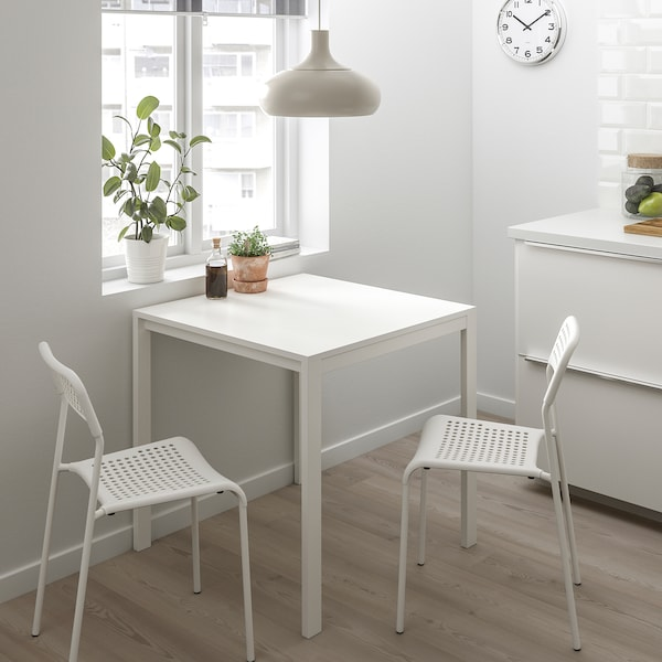 MELLTORP / ADDE طاولة وكرسيان, أبيض, 75 سم