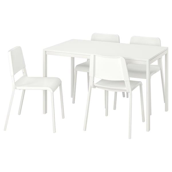 MELLTORP / TEODORES طاولة و4 كراسي, أبيض