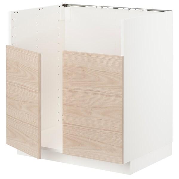 METOD خزانة قاعدة لحوض مزدوج BREDSJÖN, أبيض/Askersund مظهر دردار خفيف, 80x60 سم
