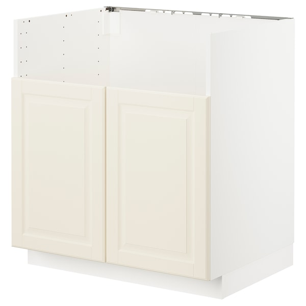 METOD خزانة قاعدة لحوض مزدوج BREDSJÖN, أبيض/Bodbyn أبيض-عاجي, 80x60 سم