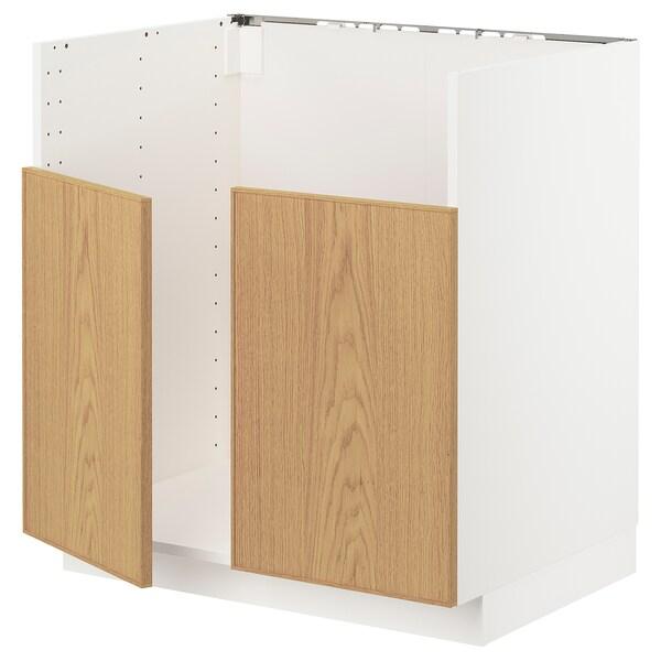METOD خزانة قاعدة لحوض مزدوج BREDSJÖN, أبيض/Ekestad سنديان, 80x60 سم