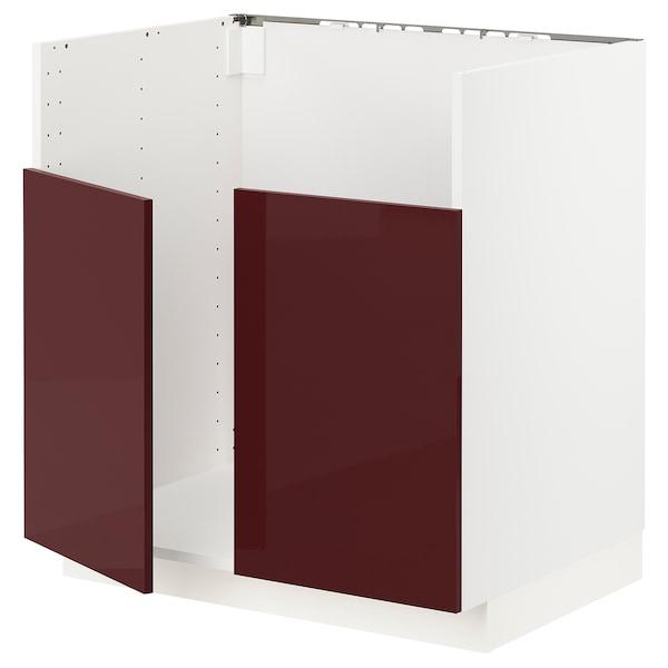 METOD قاعدة خزانة حوض غسيل مزدوج BREDSJÖN, أبيض Kallarp/لامع أحمر-بني غامق, 80x60 سم
