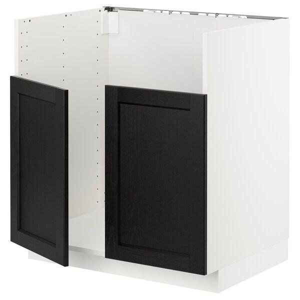METOD خزانة قاعدة لحوض مزدوج BREDSJÖN, أبيض/Lerhyttan صباغ أسود, 80x60 سم