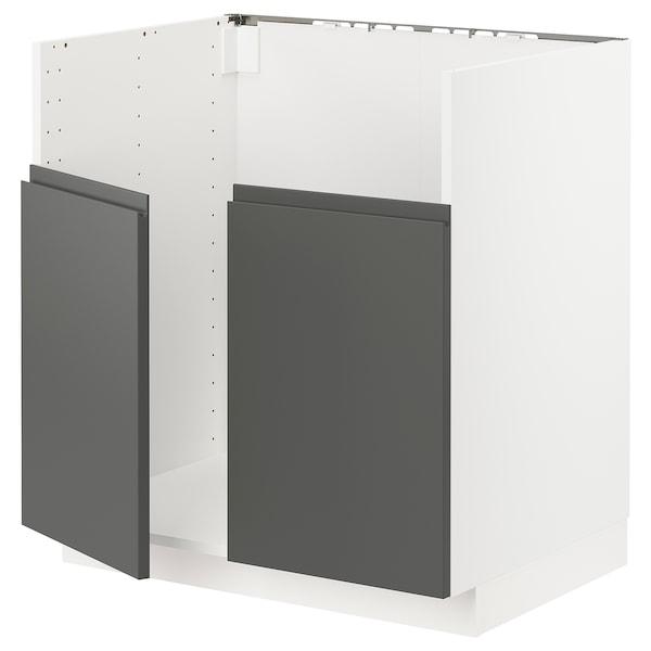 METOD خزانة قاعدة لحوض مزدوج BREDSJÖN, أبيض/Voxtorp رمادي غامق, 80x60 سم