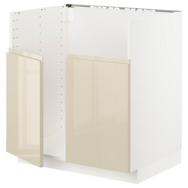 METOD خزانة قاعدة لحوض مزدوج BREDSJÖN, أبيض/Voxtorp بيج فاتح لامع, 80x60 سم