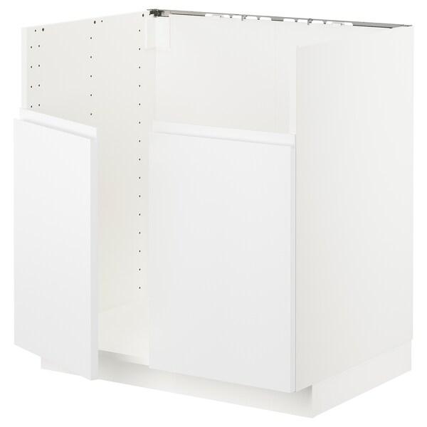 METOD خزانة قاعدة لحوض مزدوج BREDSJÖN, أبيض/Voxtorp أبيض مطفي, 80x60 سم