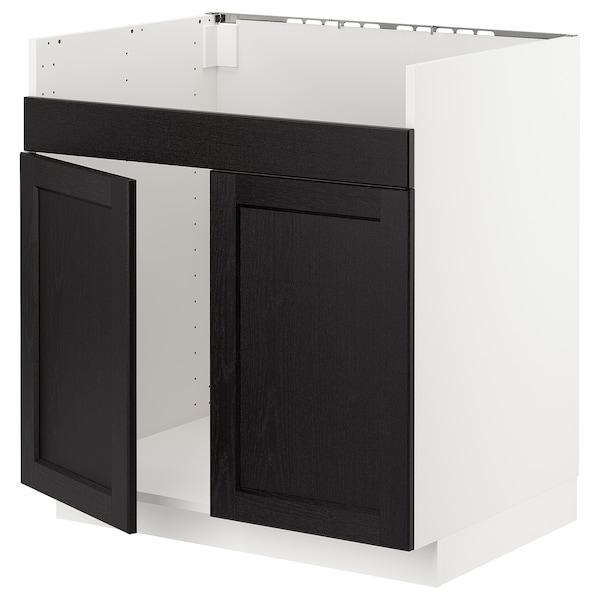 METOD خزانة قاعدة لحوض مزدوج HAVSEN, أبيض/Lerhyttan صباغ أسود, 80x60 سم