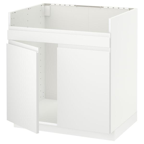 METOD خزانة قاعدة لحوض مزدوج HAVSEN, أبيض/Voxtorp أبيض مطفي, 80x60 سم