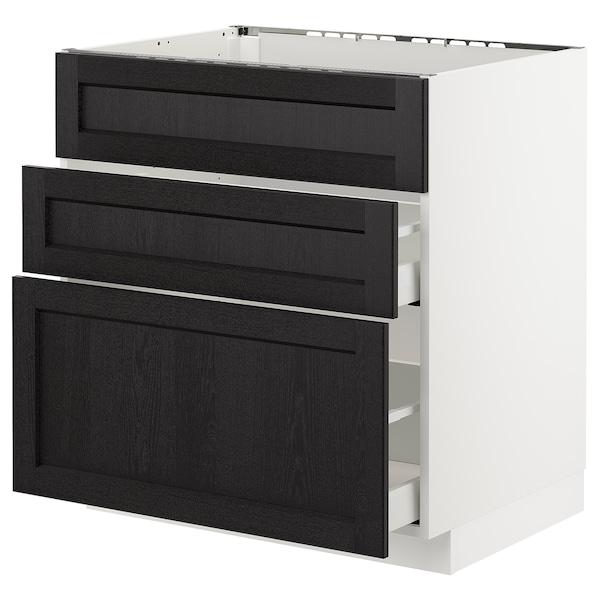 METOD خ. قاعدة لحوض+3 واجهات/2أدراج, أبيض/Lerhyttan صباغ أسود, 80x60 سم