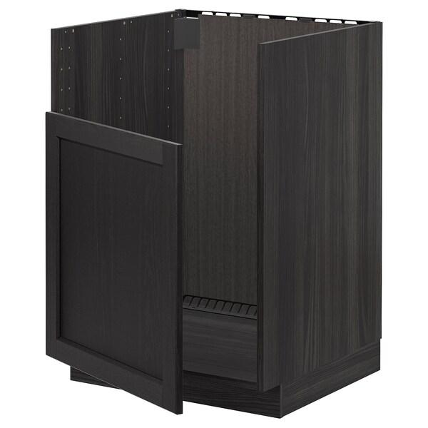 METOD خزانة قاعدة لحوض BREDSJÖN, أسود/Lerhyttan صباغ أسود, 60x60 سم