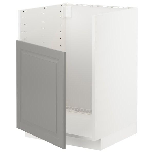 METOD خزانة قاعدة لحوض BREDSJÖN, أبيض/Bodbyn رمادي, 60x60 سم