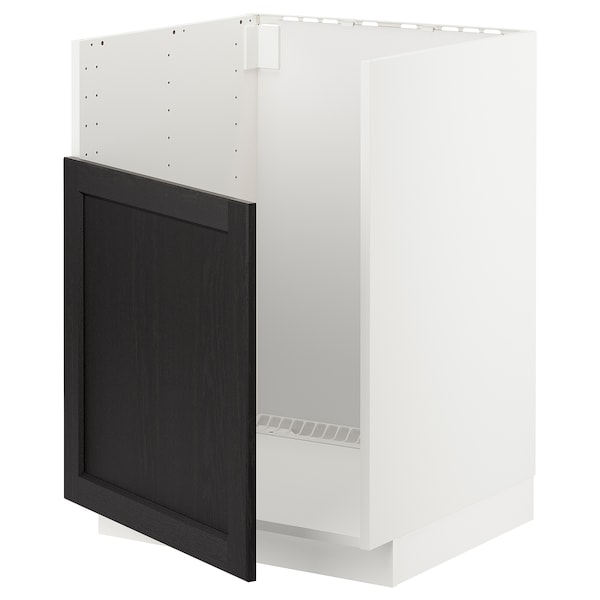 METOD خزانة قاعدة لحوض BREDSJÖN, أبيض/Lerhyttan صباغ أسود, 60x60 سم