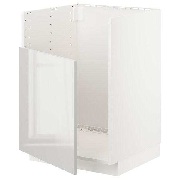 METOD خزانة قاعدة لحوض BREDSJÖN, أبيض/Ringhult رمادي فاتح, 60x60 سم