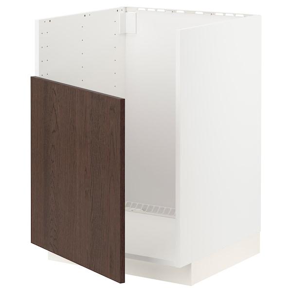 METOD خزانة قاعدة لحوض BREDSJÖN, أبيض/Sinarp بني, 60x60 سم