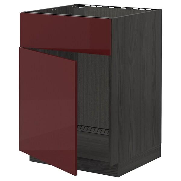 METOD خ.ق. لحوض مع باب/واجهة, أسود Kallarp/لامع أحمر-بني غامق, 60x60 سم