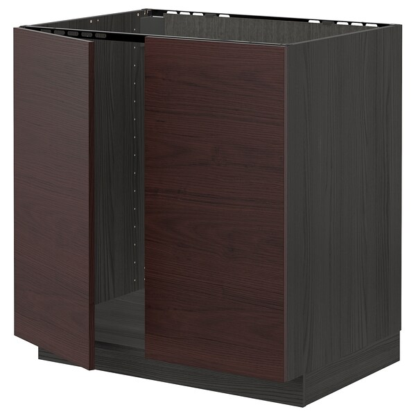 METOD Base cabinet for sink + 2 doors, black Askersund/dark brown ash effect, 80x60 cm