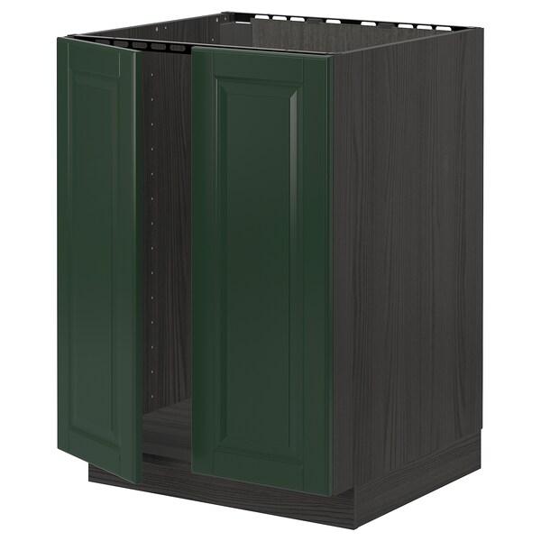 METOD Base cabinet for sink + 2 doors, black/Bodbyn dark green, 60x60 cm