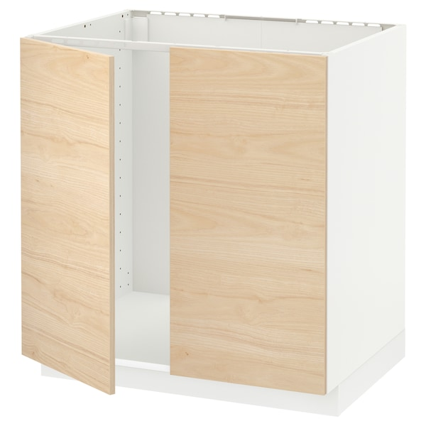 METOD خزانة قاعدة للحوض + بابين, أبيض/Askersund مظهر دردار خفيف, 80x60 سم