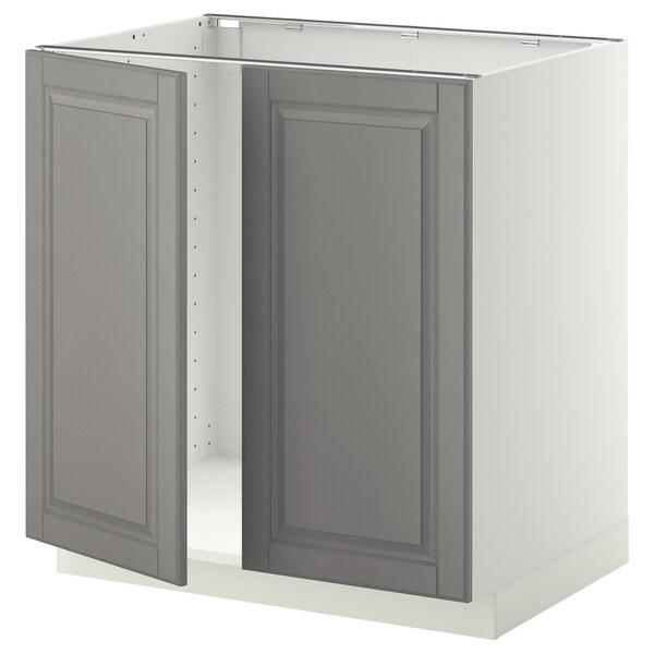 METOD خزانة قاعدة للحوض + بابين, أبيض/Bodbyn رمادي, 80x60 سم