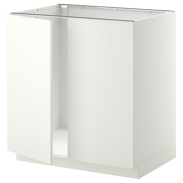 METOD Base cabinet for sink + 2 doors, white/Häggeby white, 80x60 cm