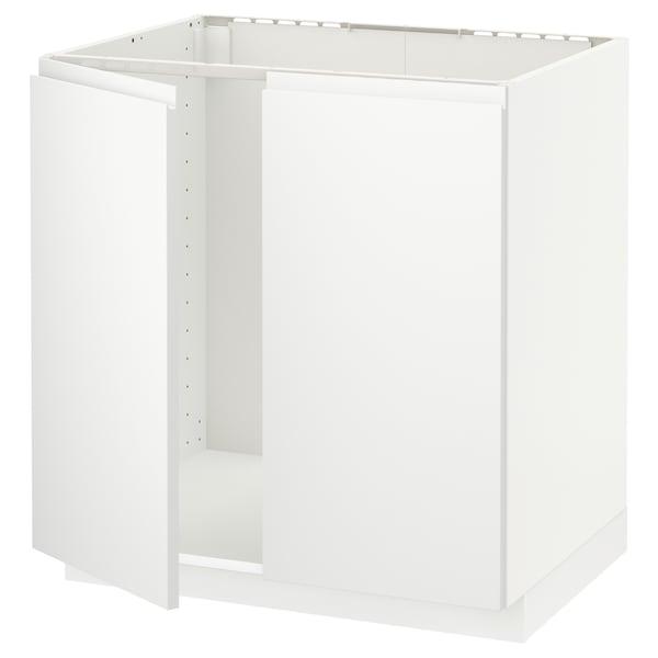 METOD خزانة قاعدة للحوض + بابين, أبيض/Voxtorp أبيض مطفي, 80x60 سم