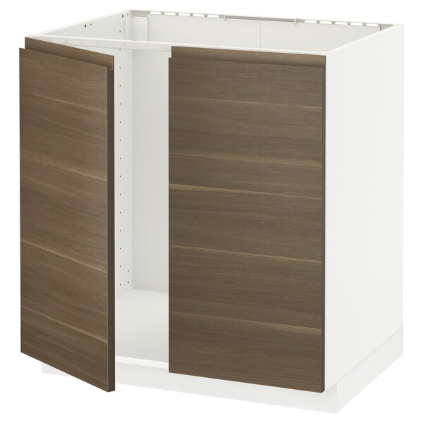 METOD Base cabinet for sink + 2 doors, white/Voxtorp walnut effect, 80x60 cm
