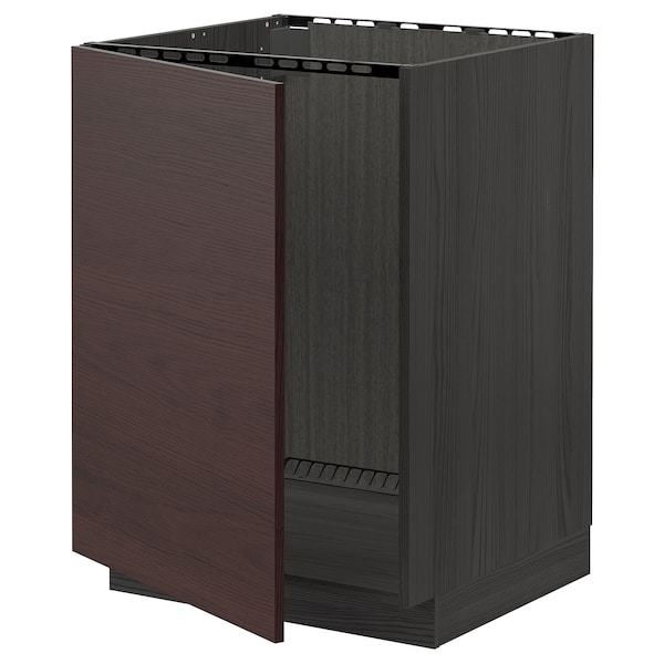 METOD Base cabinet for sink, black Askersund/dark brown ash effect, 60x60 cm