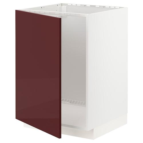METOD base cabinet for sink white Kallarp/high-gloss dark red-brown 60.0 cm 61.6 cm 88.0 cm 60.0 cm 80.0 cm