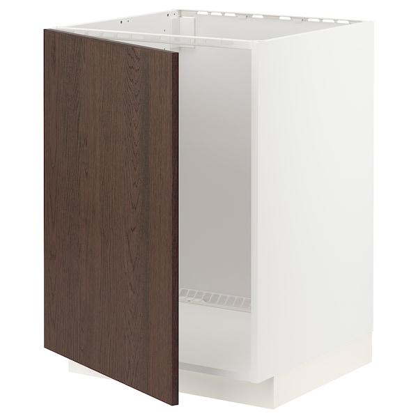 METOD Base cabinet for sink, white/Sinarp brown, 60x60 cm