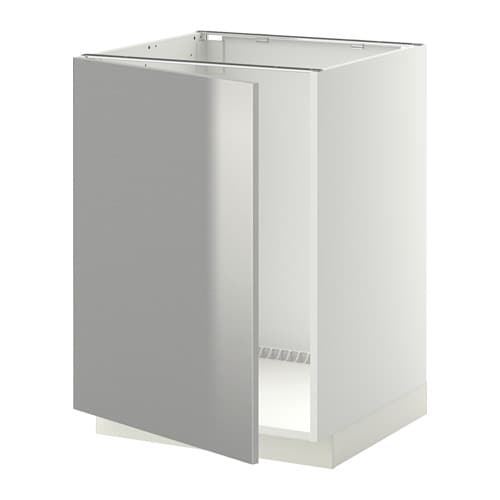 Metod Base Cabinet For Sink White Grevsta Stainless