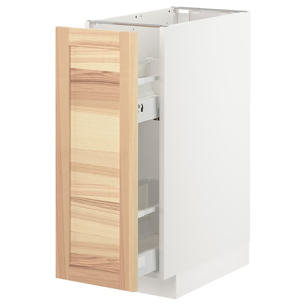 METOD Base cabinet/pull-out int fittings, white/Torhamn ash, 30x60 cm