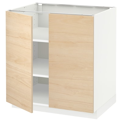 METOD خزانة قاعدة مع أرفف/بابين, أبيض/Askersund مظهر دردار خفيف, 80x60 سم