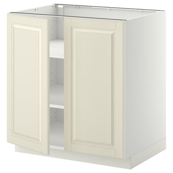METOD خزانة قاعدة مع أرفف/بابين, أبيض/Bodbyn أبيض-عاجي, 80x60 سم